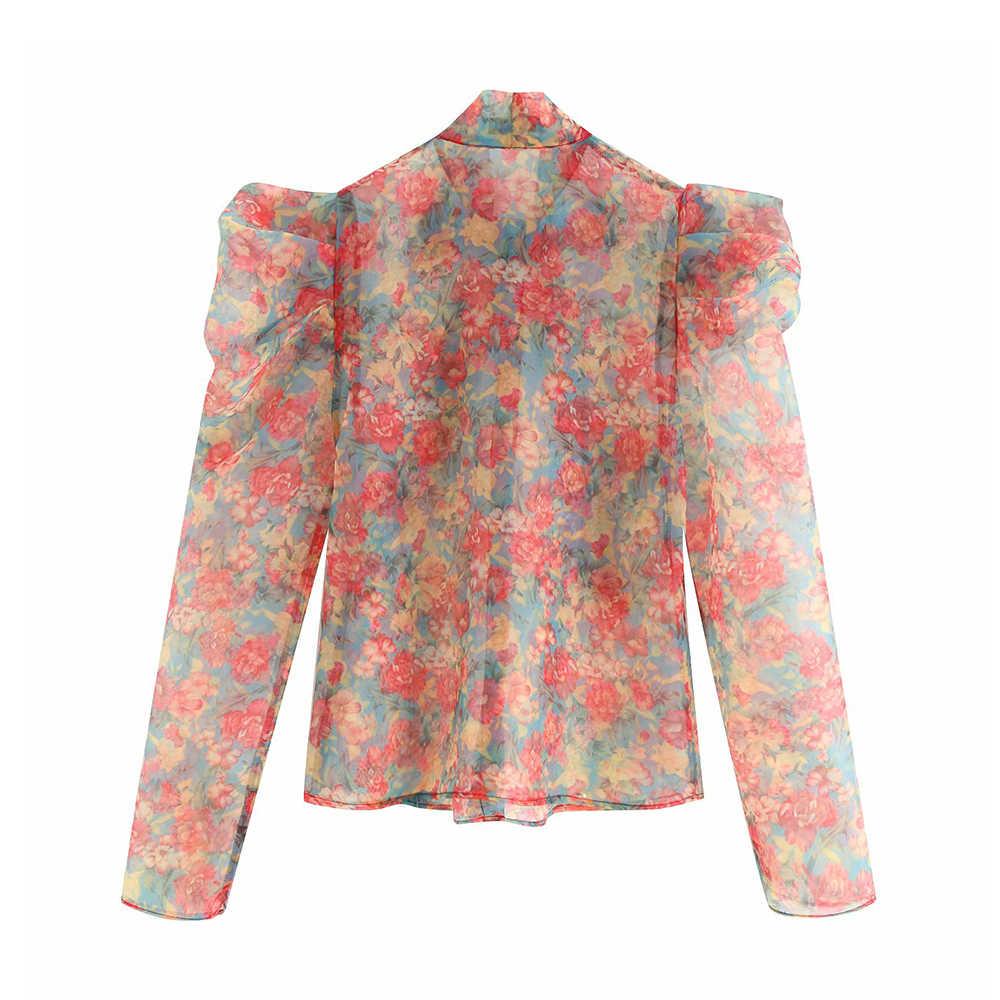 Vintage Sexy Floral Imprimir Ruffles Organza Tops Mulheres Blusas 2019 Moda Bow Tie Collar Ver Através de Camisas Casuais Blusas Mujer