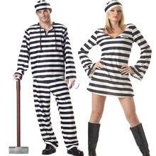 Хэллоуин платье для женщин влюбленных ужас кровавый зомби мужская одежда пленник Маскировка карнавал маскарад в полоску страшные костюмы