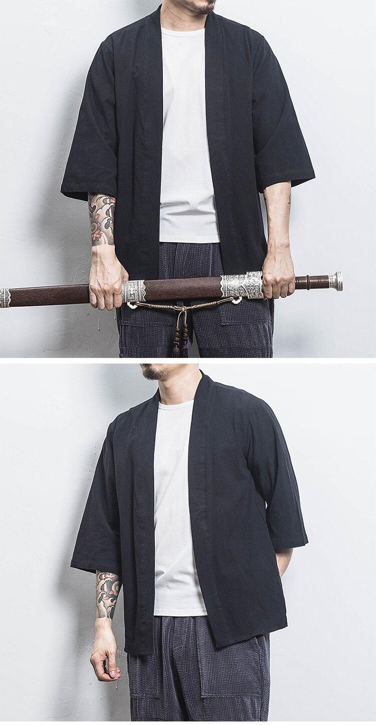 H5c1326d182b14a58b5c1c56f87255827F Drop Shipping Cotton Linen Shirt Jackets Men Chinese Streetwear Kimono Shirt Coat Men Linen Cardigan Jackets Coat Plus Size 5XL