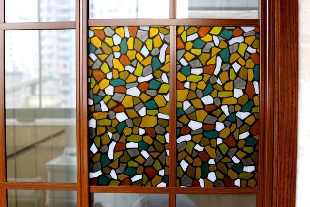 Window Self-adhesive Film Stained Glass Decoration Art Window Privacy Film Static Cling Removable Vinyl Window Sticker 2