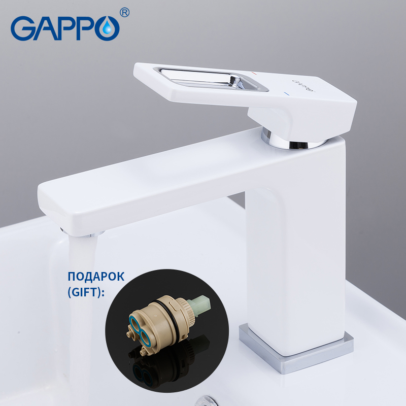 GAPPO Sink Faucet Basin-Mixer Torneira Bathroom Deck-Mount White
