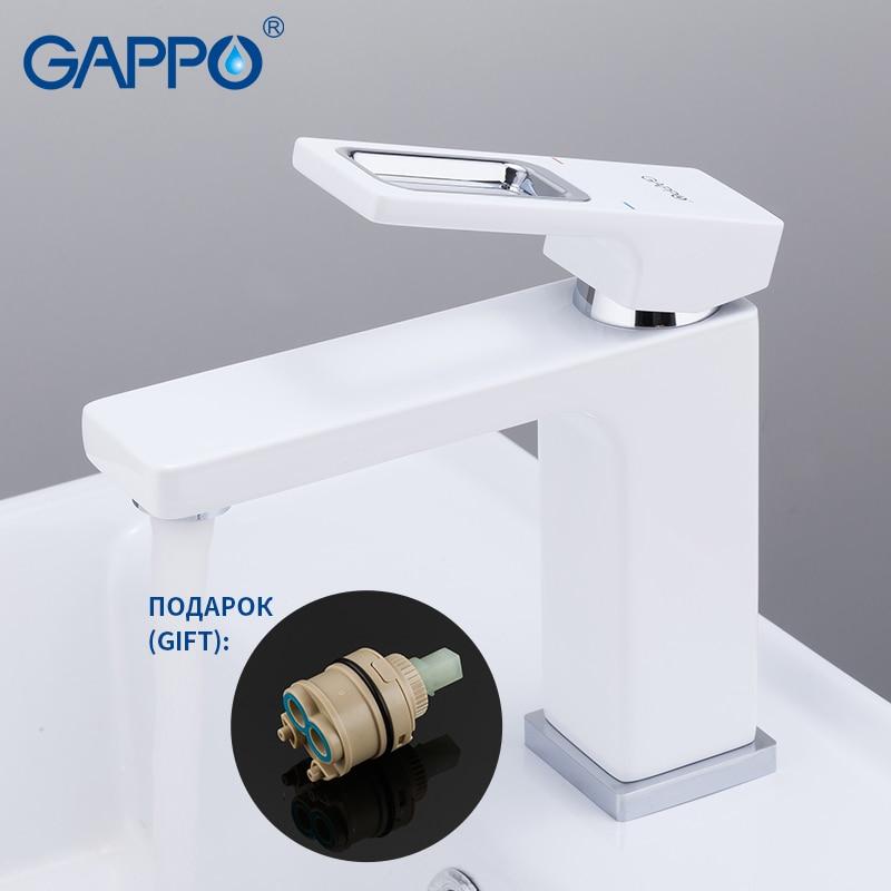 GAPPO havza musluk batarya lavabo musluğu banyo su mikser beyaz pirinç musluklar su musluk güverte dağı torneira