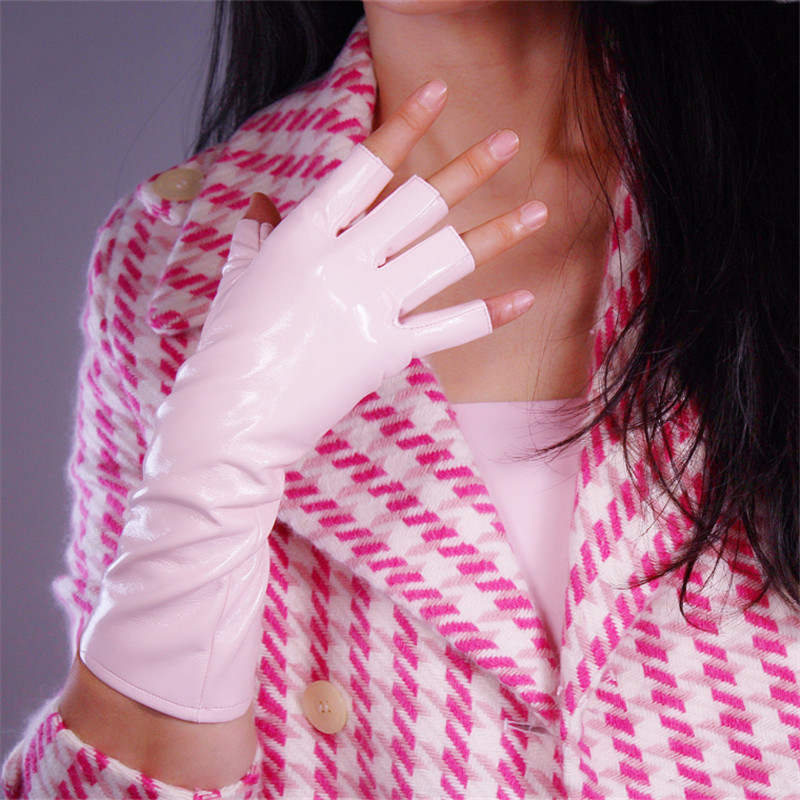 Patent Leather Half Finger Gloves 28cm Medium And Long Section Emulation Leather Bright Leather Light Pink Fingerless PU143