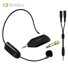 SHIDU U8ไมโครโฟนไร้สายUHF 3.5/6.5มม.ปลั๊กชุดหูฟังมือถือ2In1แบบพกพาMicเครื่องขยายเสียงสำหรับลำโพงครูท่องเที่ยว