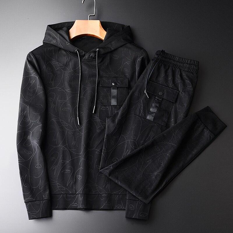 Толстовки мужские осенние модные с абстрактным узором из окрашенной пряжи двухсекционные толстовки комплекты со штанами черная толстовка ...
