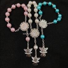 12pc imitação pérola grânulo comunhão presentes do chá de fraldas batismo rosário pulseiras crucifixo católico oração batismo festa favores
