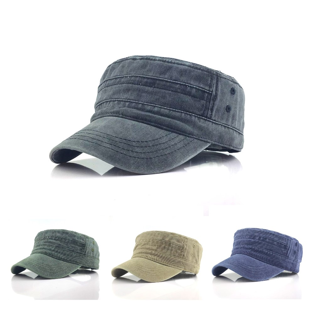 1Pc Solid Color Men's Army Cap Military Adjustable Flat Cap Classical Style Sunscreen Sun Hat Casual Hat