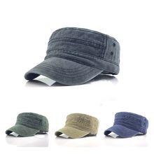 Casquette militaire de couleur unie pour hommes, chapeau plat réglable, Style classique, protection solaire, 1 pièce