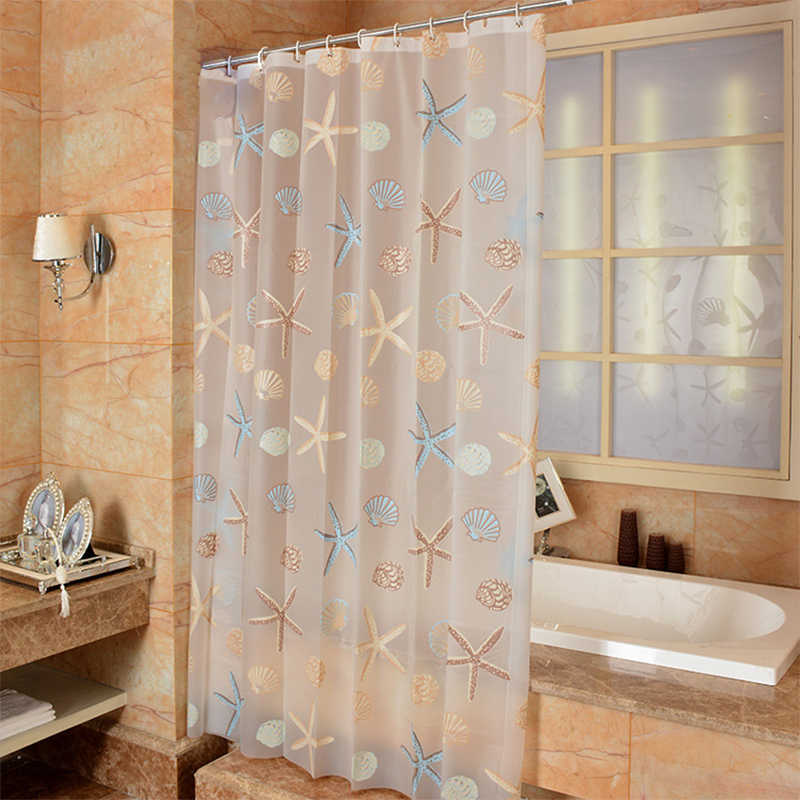 Modern Bathroom Shower Curtain Waterproof Mildew PEVA Shower Curtains Starfish Seaside Style Bath Curtain for Shower Room