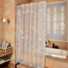Modern Bathroom Shower Curtain Waterproof Mildew PEVA Curtains Starfish Seaside Style Bath for Room