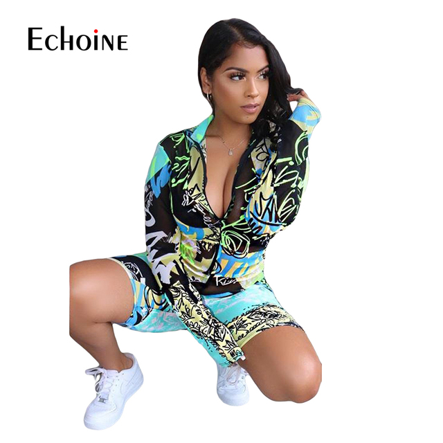 Echoine Tie-Dye print Women zipper up bodycon skinny short Jumpsuit Romper Fitness Sexy Night Party playsuit One Piece Outfit 5