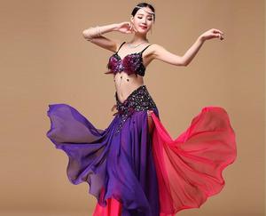 Image 5 - Bayan göbek dans eteği 2 renkler moda Bohemia çingene Maxi etek dansçı uygulama elbise egzotik giyim siyah kırmızı karışık