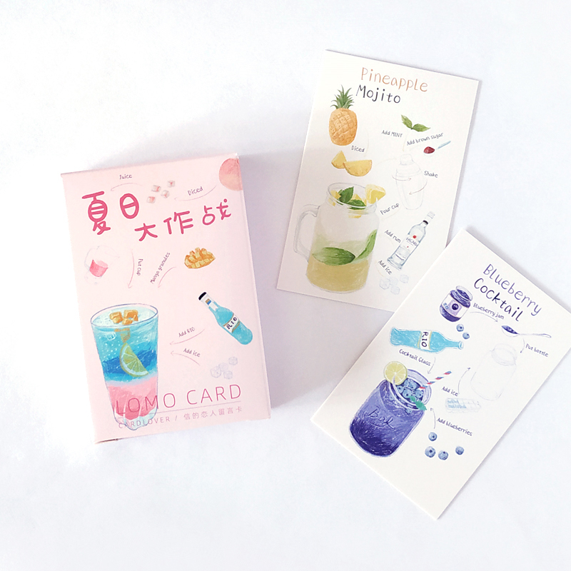 28 Sheets/Set Colorful Summer Drink Life LOMO Card Mini Postcard Greeting Card Christmas And New Year Gift