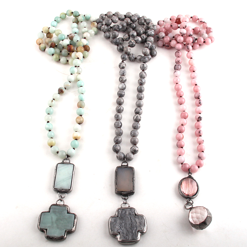 RH Fashion Beaded Jewelry Stone Bead Long Knotted Cross Pendant Necklaces For Women