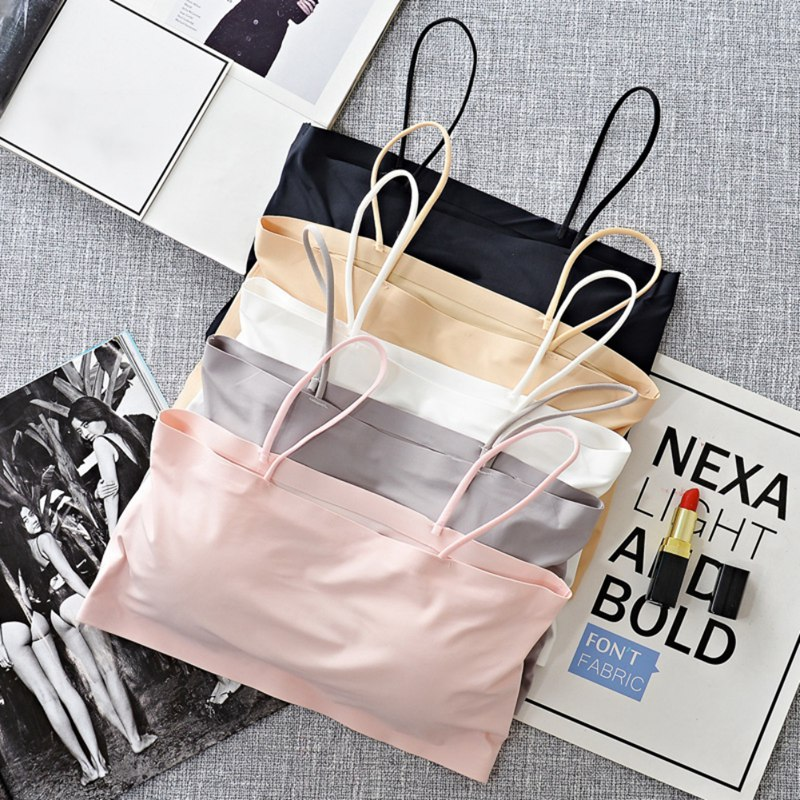 Women Sling Tube Top Sexy Bra Top Breathable Chest Pad Wearing Underwear Strapless Blouse Tube Top Bandeau Top 2020