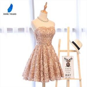 Image 3 - DEERVEADO XYG702 אונליין מתוקה קצר שמלות נשף 2020 סקסי ללא משענת שרוכים באורך הברך מסיבת שמלות לנשף שמלת אמיתי תמונות