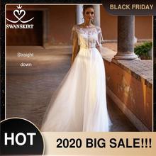 С аппликацией из бисера кружевное свадебное платье Swanskirt пляжные Совок трапециевидной формы Тюль Иллюзия невесты Дизайнерский Костюм принцессы; robe de Mariage NY51