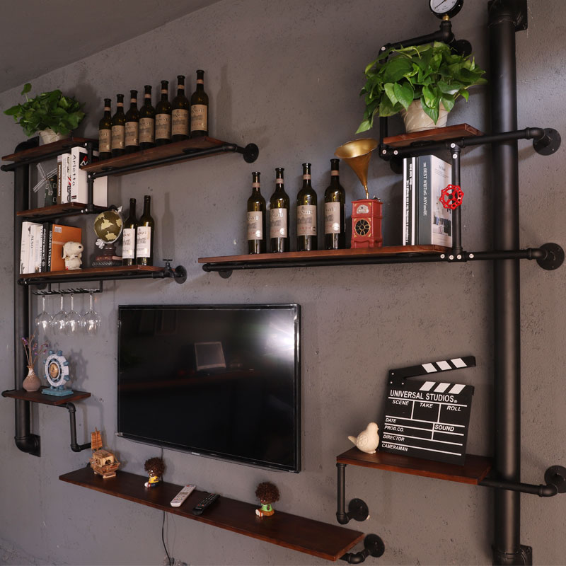 Living Room Tv Wall Decoration Partition Wall Hanging Bedroom Wall Shelf Antique Design Wrought Iron Tv Wall Wine Rack CF