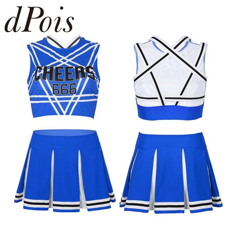 Girls Sports Cheerleader Costume School Match Uniform Outfit 3 Pieces Crop Top