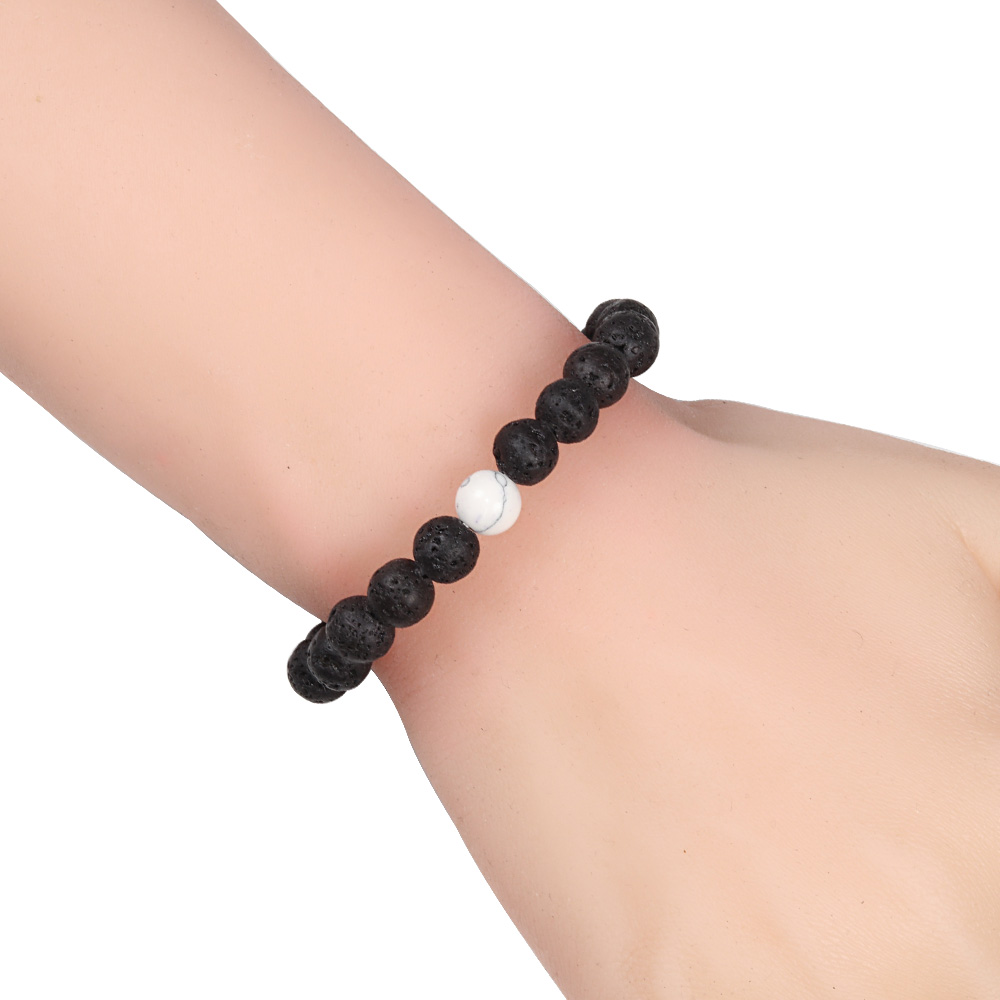Couples Bracelet for Men and Women Classic 8mm Natural Black and White Lava Stone Beads Bracelets Jewelry Best Friend Gifts