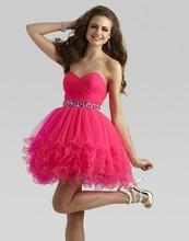 Short 2018 Sweetheart Sleeveless crystal Zipper Back Ball party prom Gown Beading Organza Mini Homecoming bridesmaid dresses