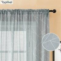 Cortinas transparentes de gasa para sala de estar, tul geométrico gris, estilo nórdico, modernas, personalizadas