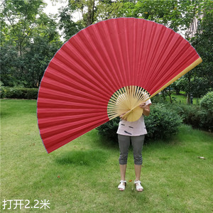 Chinese red decorative Large fan,Single-sided Solid Color Red Cloth Hang Fan Home Furnishing Decoration Hang Fan