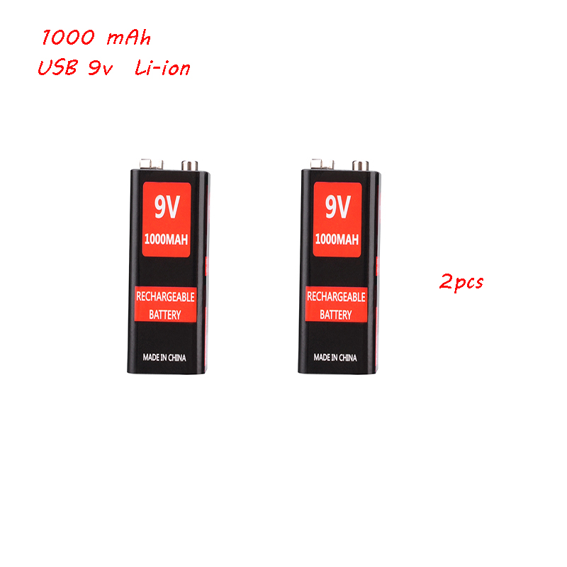 2 pces 1000mah micro usb 9 volts li-ion bateria recarregável 6f22 9 v li ion bateria de lítio para rc helicóptero modelo microfone brinquedo