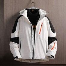 Jacket Clothing Coat White-Duck-Down-Jacket Winter Mens New Streetwear Zipper Patchwork