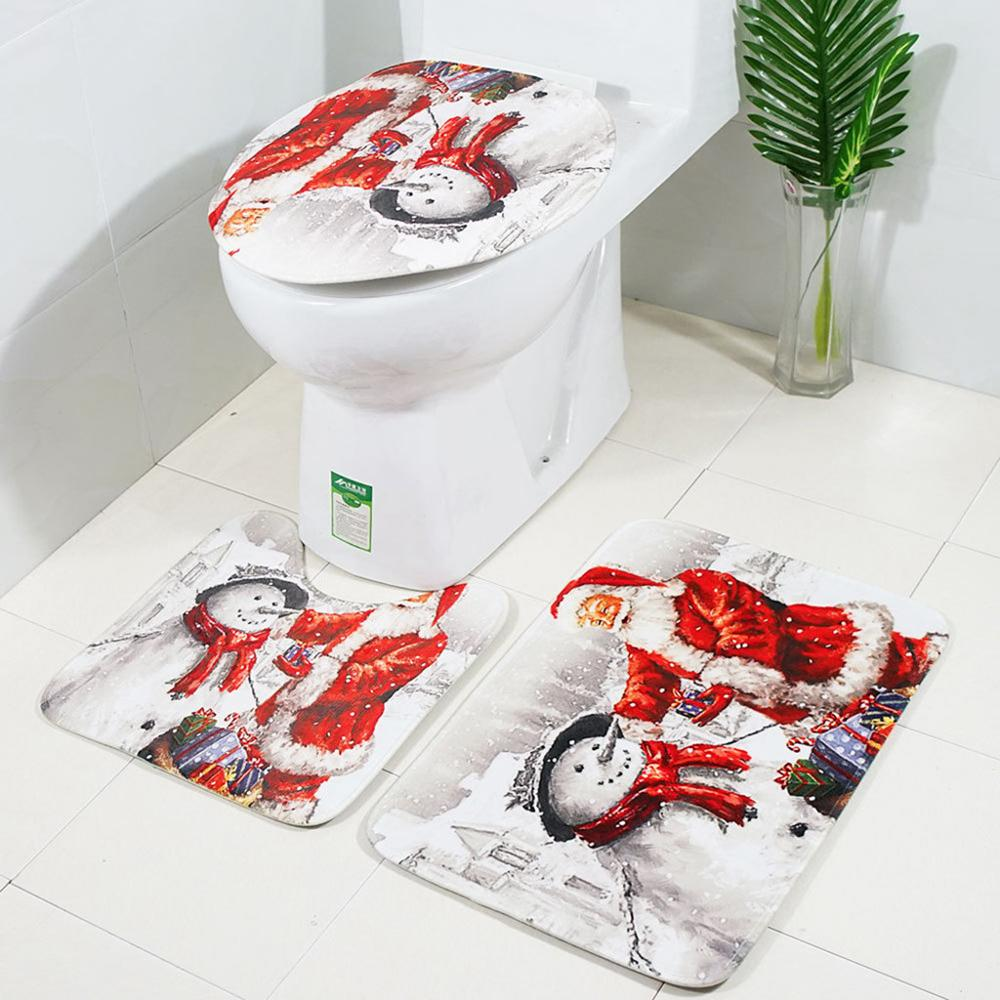 Santa Claus Printed Bathroom Curtain Set Made Of Flannel Material For Toilet And Bathroom 1