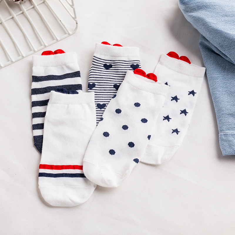 H5c14dd93344143bd923712d81eece6a78 - 5Pairs New Arrivl Women Cotton Socks Pink Cute Cat Ankle Socks Short Women Socks Casual Animal Ear Red Heart Gril Socks 35-40
