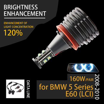 160W 7000K White H8 LED Angel Eyes Ring Marker Bulbs for BMW 2008-2010 5 Series E60 (LCI) Super Bright image