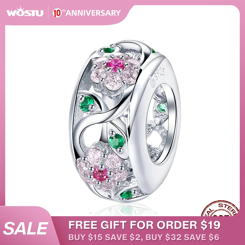 WOSTU Luxury 925 Sterling Silver Flower Beads Zircon Charms Fit Bracelet & Bangles For Women Party Rainbow Jewelry Making CTC039