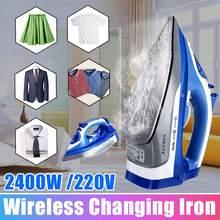 2400W Cordless Electric Steam Iron Ironing Machine Garment Flatiron Non-stick Soleplate AC 220V Adjustable Thermostatic Control