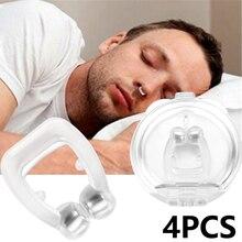 4шт мини силиконовые магнитные анти храп стоп храпа зажим для носа сна спальный помощи апноэ лоток прибор ночного охранника в случае