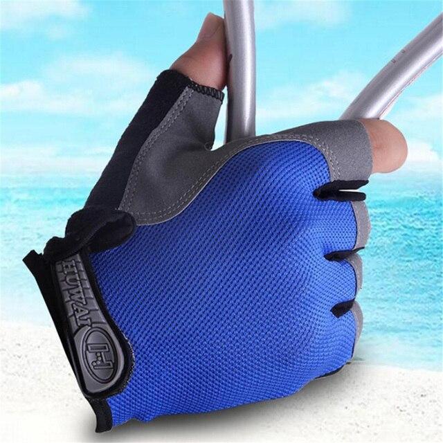 Para homens mulheres luvas de ciclismo luvas de bicicleta anti derrapante choque respirável metade dedo luvas esportivas acessórios da bicicleta 3