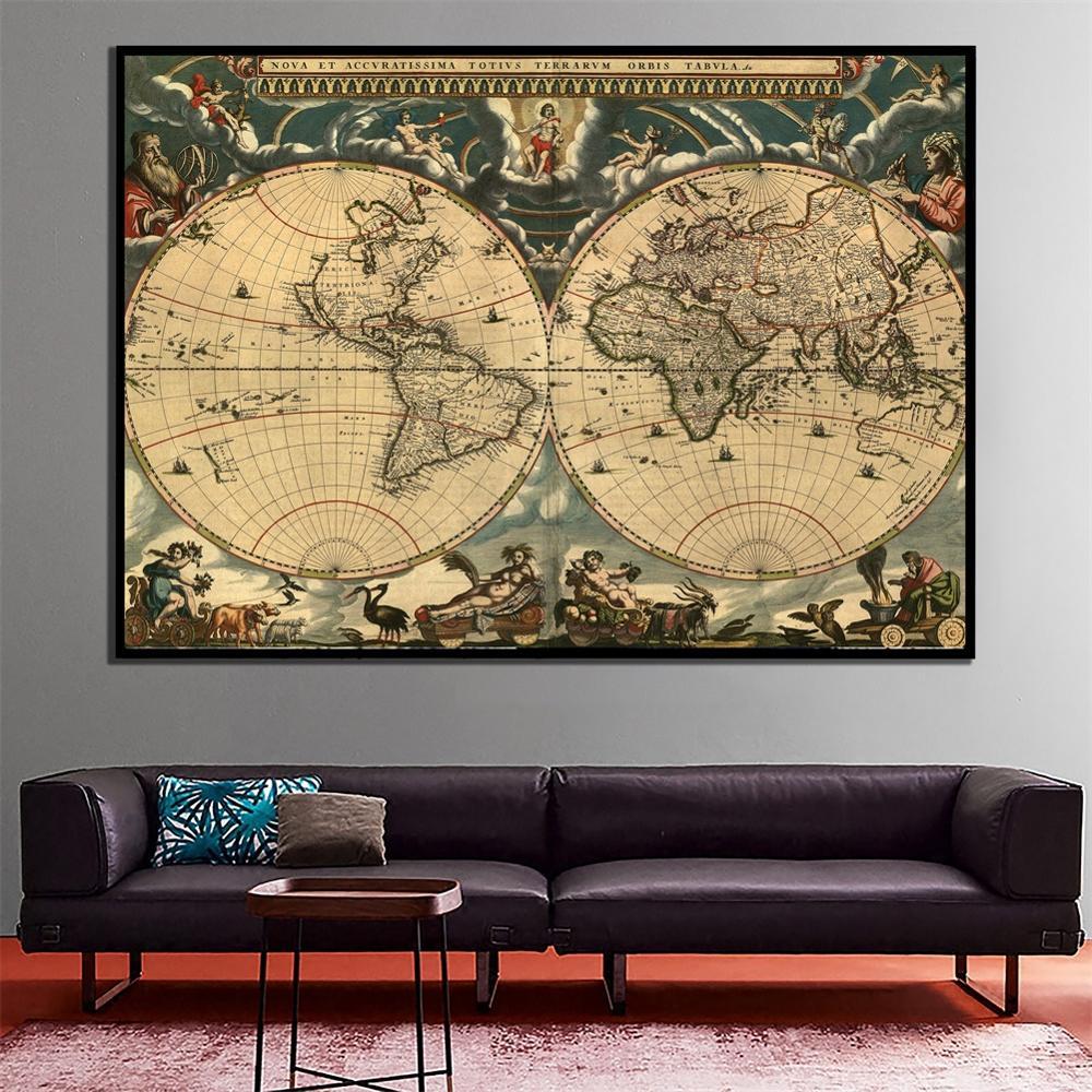 a2 tamanho retro mapa do mundo belas lona parede mapa hd impresso sem moldura pintura para