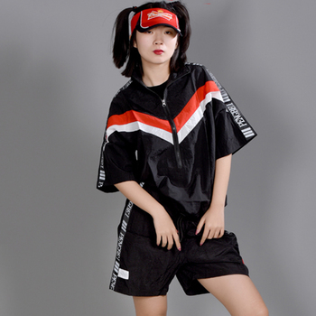 Hip Hop Costumes Women Stage Clothes Fashion Reflective Fabric Short Sleeve Suit Street Dance Outfit Kid Performance Wear DN5370
