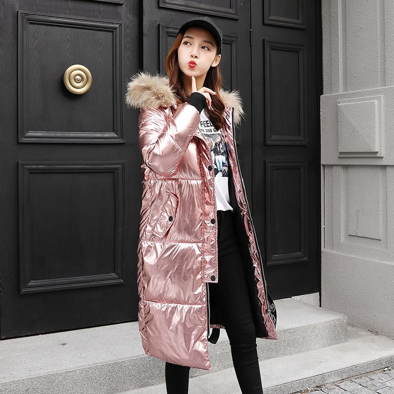 Winter Women Shiny   Down     Coat   Female Slim Fit Long   Down   Jacket Thick Fur Collar Hooded Metallic jackets X9209