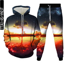 Autumn new tree element men and women 3D hoodie + sweatpants two-piece men's hooded long-sleeved thin sweatshirt pullover