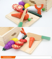 Wooden Pretend Play Kitchen Kids Toys Educational Early Simulation Fruit Cut To Watch The Game Vegetables Cut Kitchen Toys