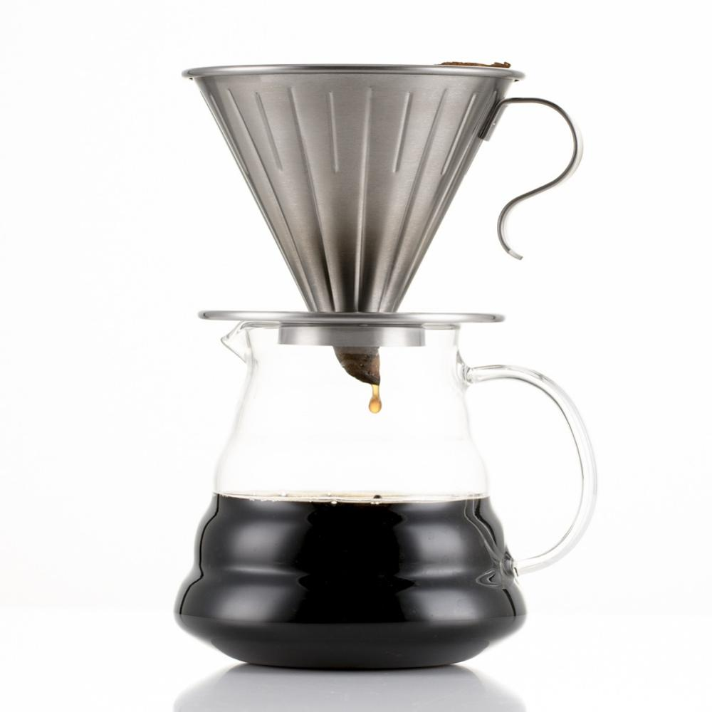 Coffee Filter Reusable Stainless Steel Cone Coffee Dripper Cup With Elegant Handle Coffeeware Kitchen Dining Tool