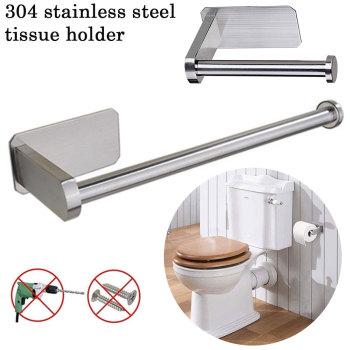 Kitchen Roll Paper Self Adhesive Wall Mount Toilet Paper Holder Stainless Steel Bathroom Tissue Towel Rack 13.8/26.8cm kitchen roll paper self adhesive wall mount toilet paper holder stainless steel bathroom tissue towel accessories rack holders