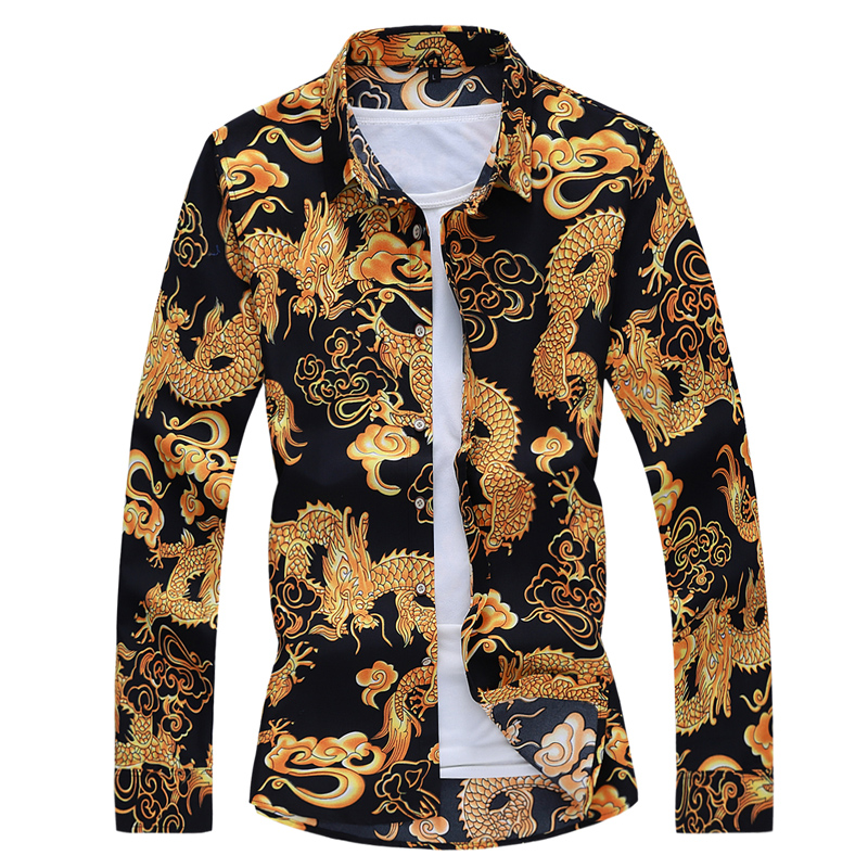 2019 Autumn Spring Clothes Chinese Dragon <font><b>Shirt</b></font> <font><b>Men</b></font> Long Sleeves Blouse Big Size <font><b>6XL</b></font> 7XL Print Hawaiian Beach Casual For Man image