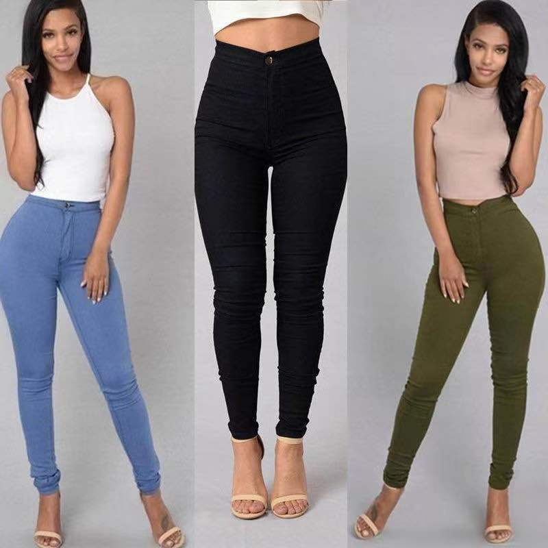 S-4XL High Waist Jean Women's Summer Autumn Stretch Straight Black Jeans Vintage Pants  Mom Slim Pencil Jeans High Quality 3
