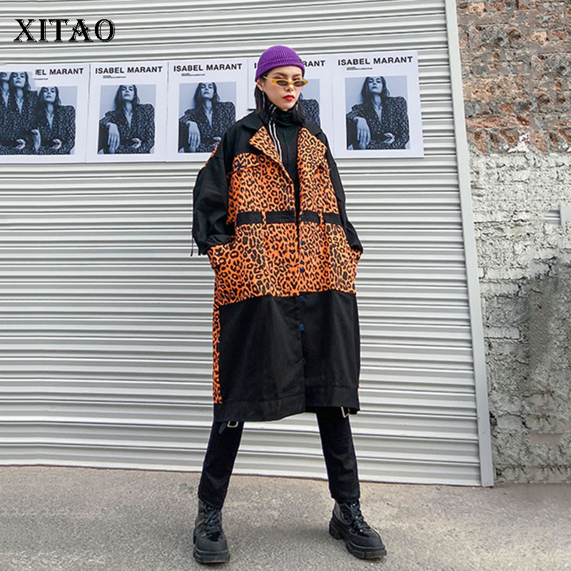 XITAO Streetwear Plus Size Trench Coat For Women Vintage Tassel Leopard Print Windbreaker Harajuku Loose Trend Top Women ZLL4704