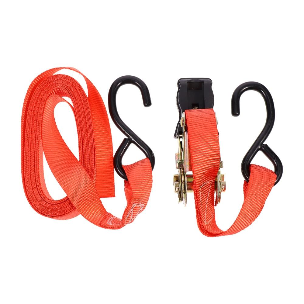 2pcs Durable Ratchet Tie-Down Straps Heavy Duty Cargo Binding Belts (Red)