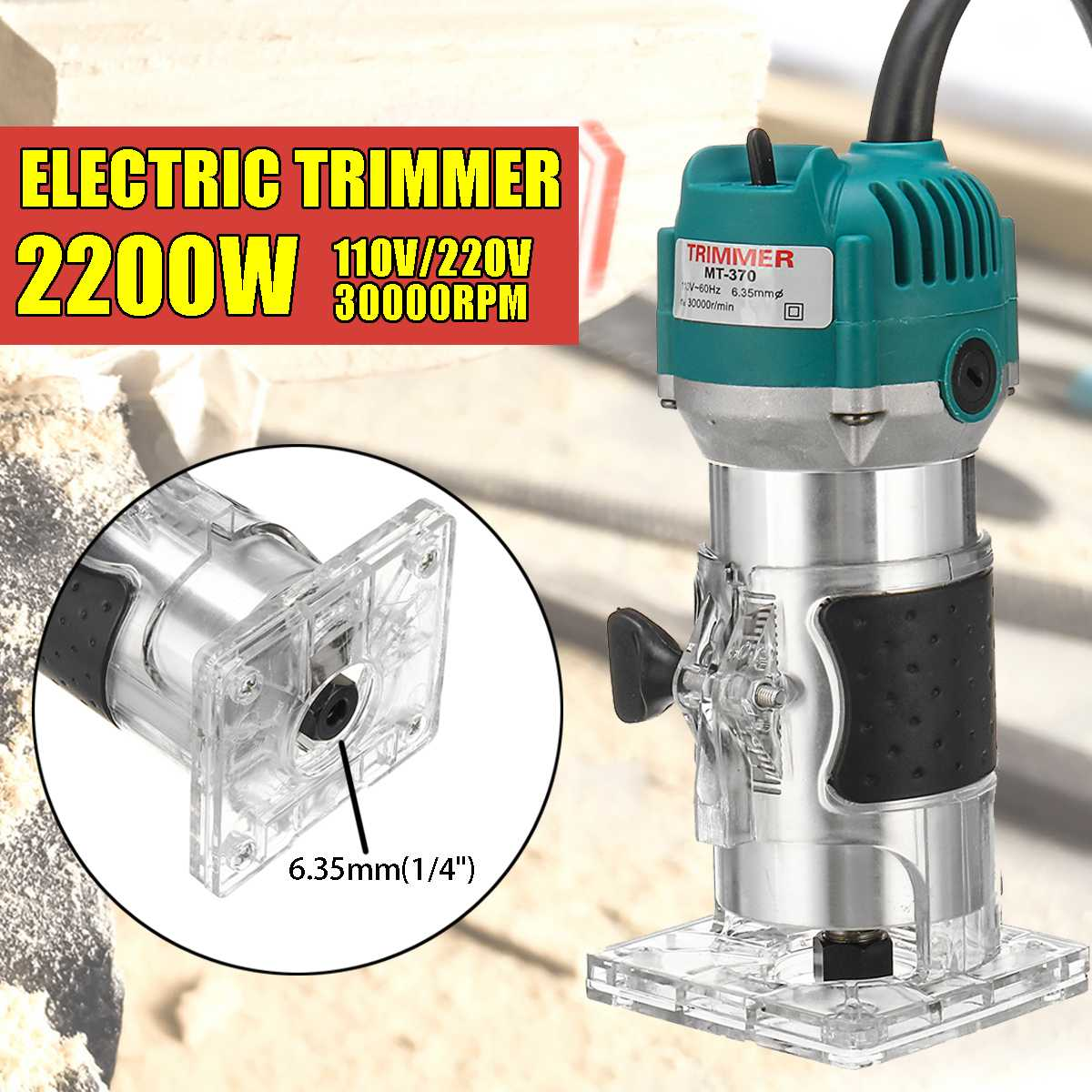 6.35mm 220V 2200W Electric Hand Trimmer Wood Laminate Palms Router Joiners Router Copper Motor Carving Machine DIY Tools
