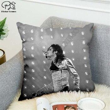Michael Jackson patrón 3D impreso poliéster decorativo fundas de almohada lanzar funda de almohada de forma cuadrada con cremallera fundas de almohada estilo-3