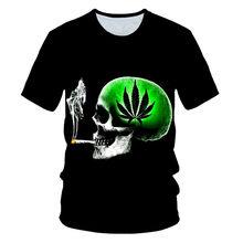 2021 Camiseta casual para hombre Hierba fresca natural Hoja verde Cráneo Camiseta 3D Moda Hip Hop Cuello redondo Manga corta